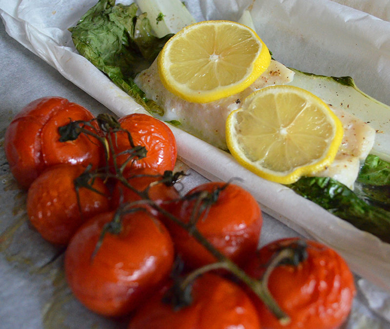 Lemon Cod en Papillote with Bok Choy and Tomatoes
