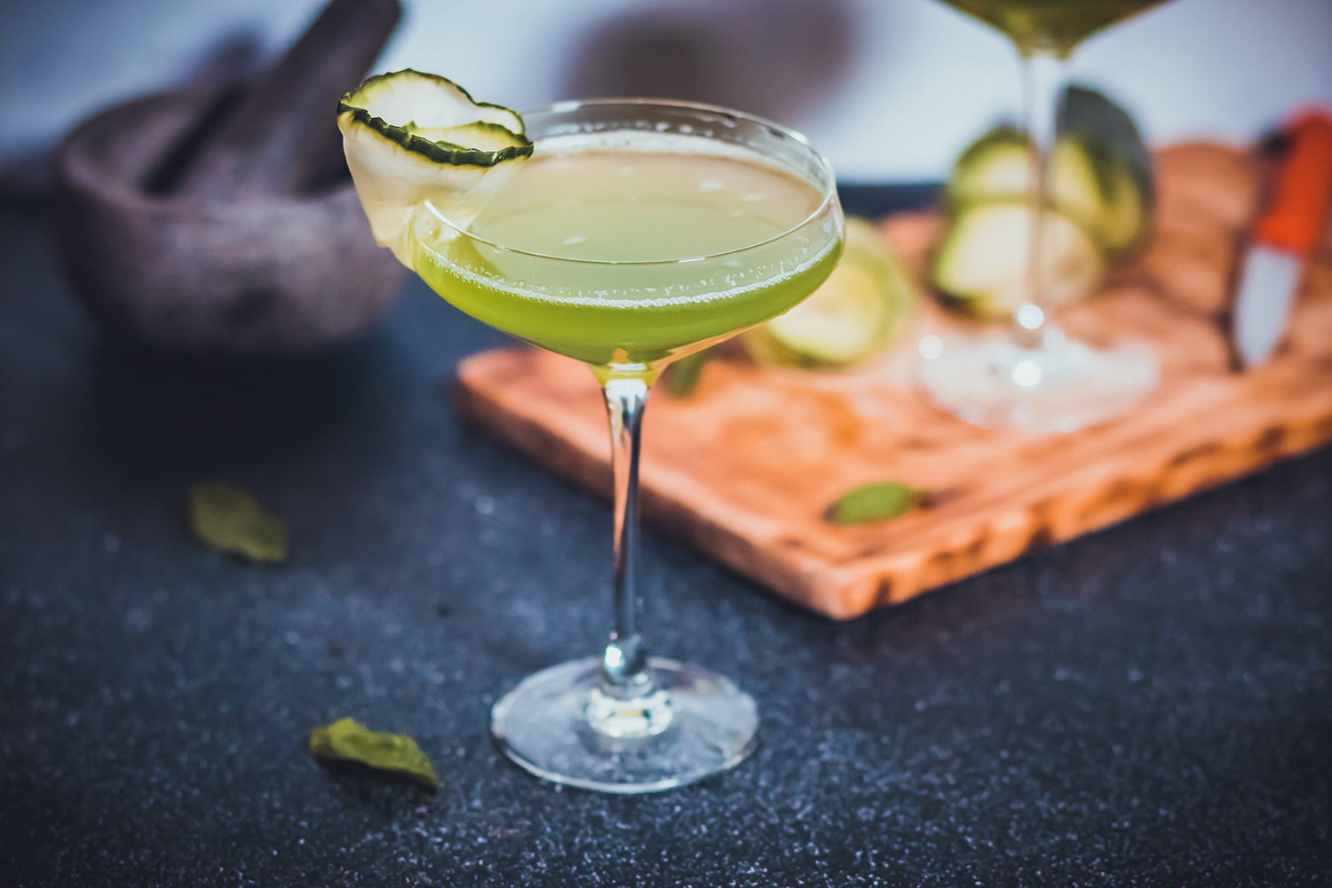 Green cocktail in a martini glass, is alcohol a trigger for IBS