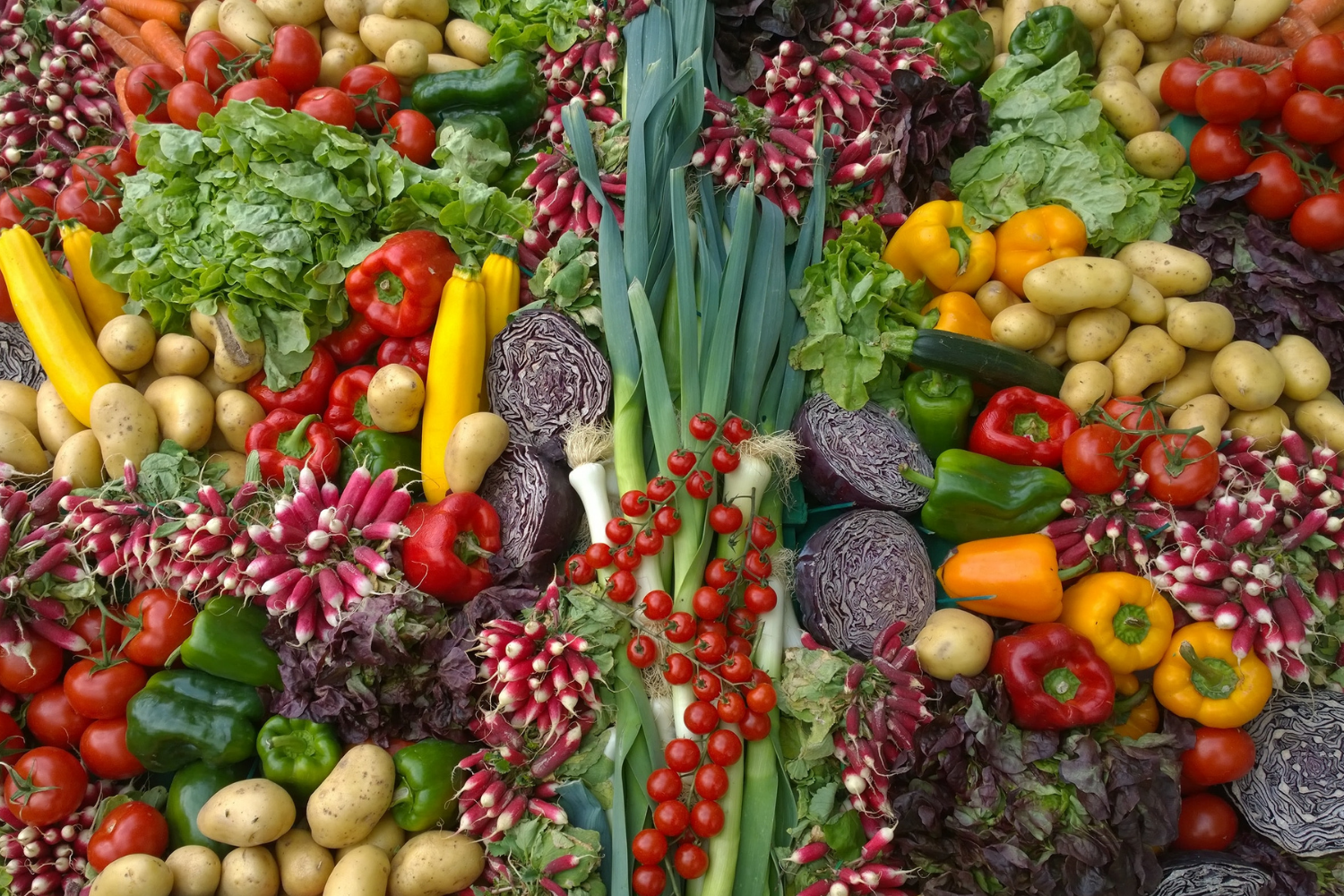 An assortment of many brightly coloured vegetables, what you need to know about fibre and IBS